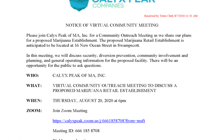 Virtual Community Meeting August 20th 2020